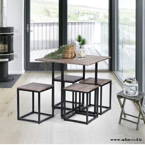 10 مدل میز ناهارخوری کمجا چوبی