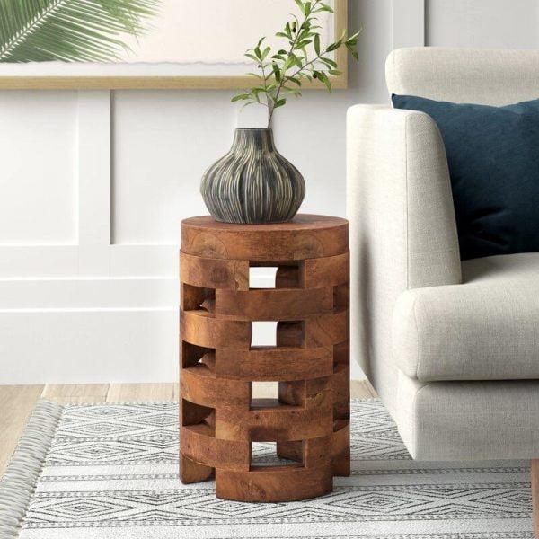 میز کناری گرد با چوب طبیعی