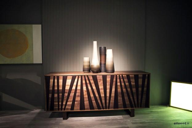 میز کنسول و بوفه ویترین چوبی