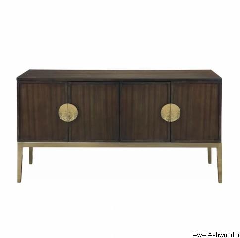 میز کنسول چوب راش , کنسول چوبی گردویی طلایی رنگ