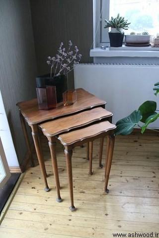 میز چوبی کوچک سه تیکه