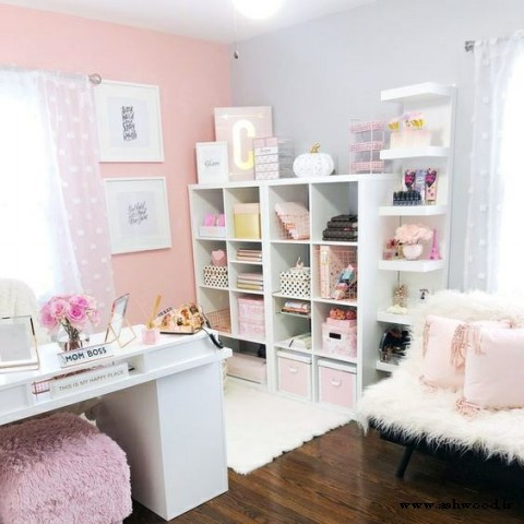 25 دفتر کار در خانه در رنگ بندیِ صورتی