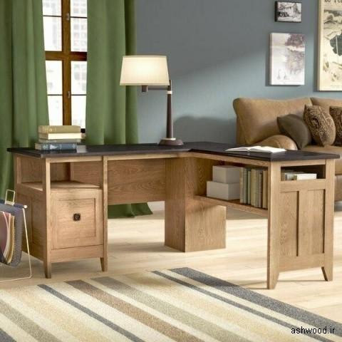 میز چوبی بلوط L شکل , میز تحریر