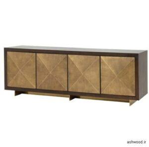 میز کنسول چوبی با درب های هندسی , آنتیک