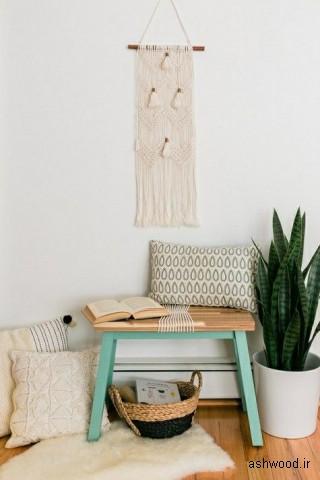 نیمکت و میز کنسول چوبی