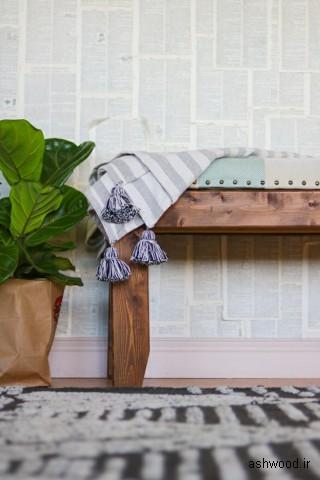 ایده نیمکت چوبی راهرو