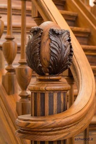 نرده چوبی , دست انداز گرد , پله گرد