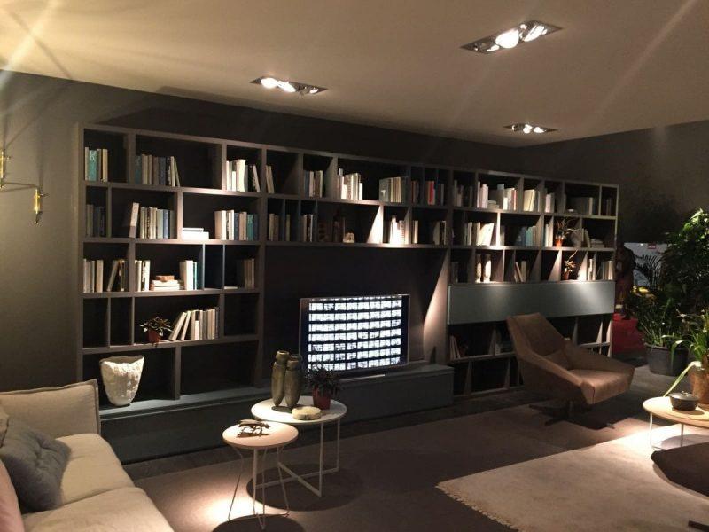واحدهای دیواری چوبی با قفسه کتاب