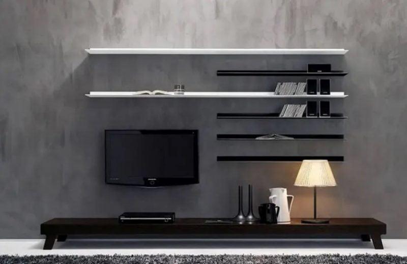واحد دیواری چوبی سالن برای مدل خانه معاصر