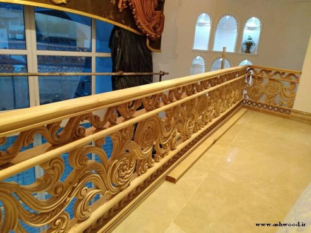 پله چوبی منبت کاری شده , پله دوبلکس و نرده چوبی وید