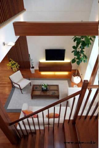 عکس پلکان و پله چوبی