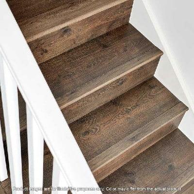 کف پله چوب کاج سندبلاست با رنگ خاکی