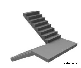انواع پله , پلکان چوبی