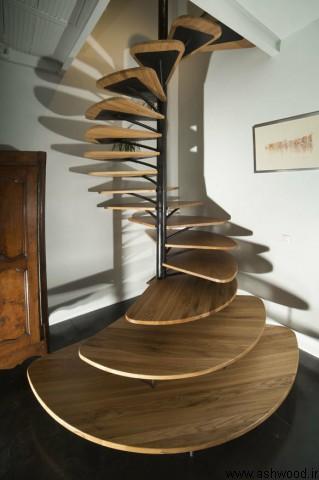 پله های چوبی گرد و مدور چوب و فلز