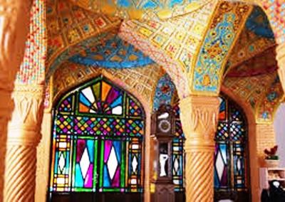 پنجره ارسی ؛ شیشه رنگی , ویترای , گره چینی , هنر سنتی ایرانی