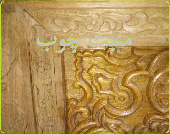 منبت کاری درب چوبی , چوب ساج ایروکو