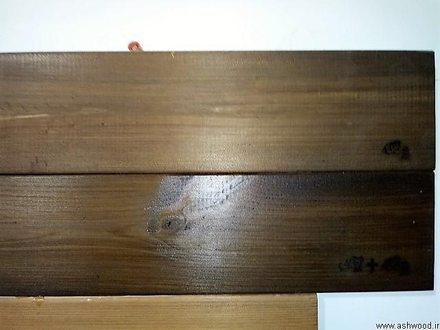 نمونه رنگ های طبیعی بر روی چوب ترمووود , پوشش روغن گیاهی ضد آب