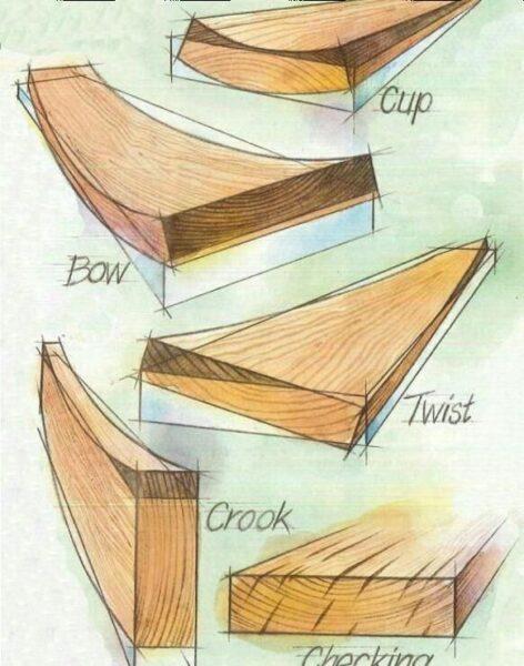 پیچ خوردن چوب , خم شدن و تاب برداشتن چوب در اثر خشک شدن چوب