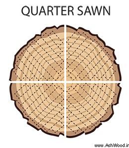 برش یک چهارم از تنه درخت