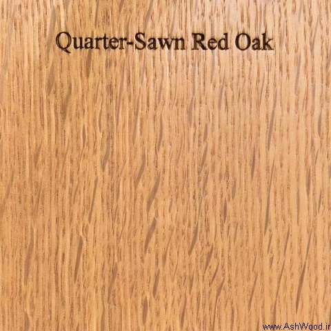 برش یک چهارم چوب بلوط قرمز