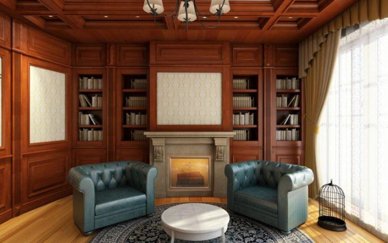 کتابخانه با قفسه داخلی