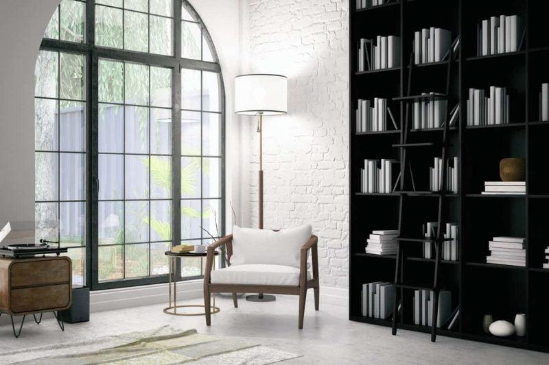 کتابخانه با قفسه سیاه