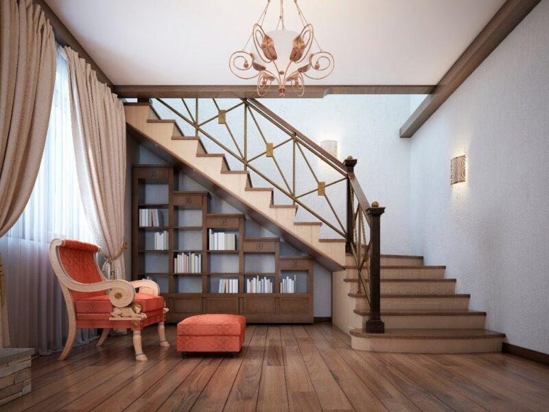 کتابخانه در زیر پله های چوبی