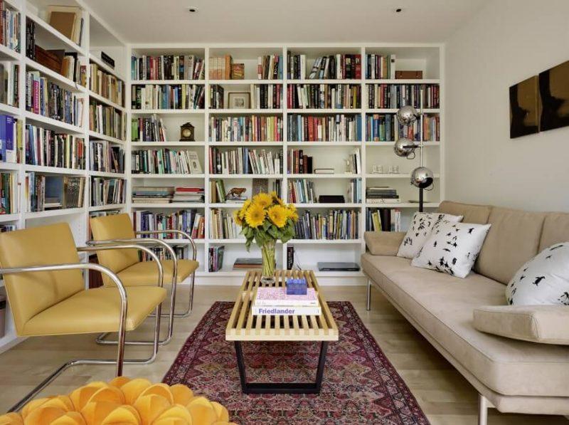 کتابخانه سفید و بژ