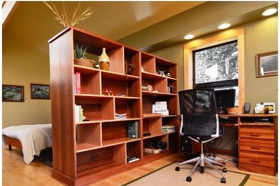 کتابخانه و بوفه چوبی