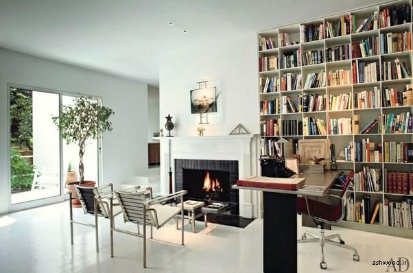 قفسه و کتابخانه چوبی خانگی