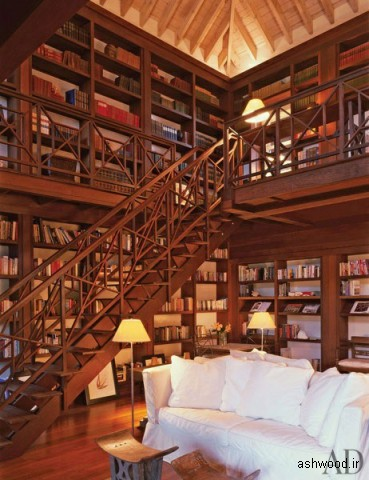 کتابخانه چوبی , دکوراسیون چوبی لوکس منزل
