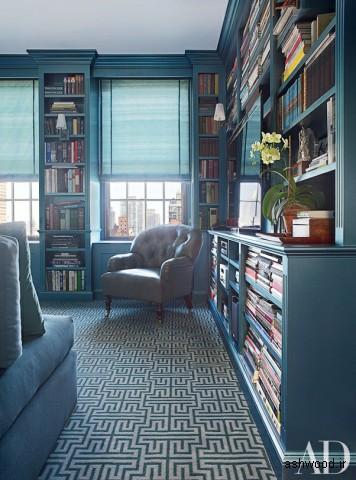 کتابخانه چوبی به رنگ آبی
