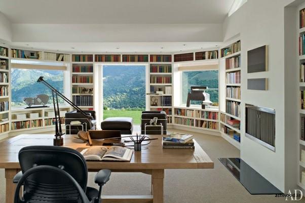 کتابخانه در یک پنت هاوس