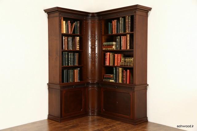 کتابخانه چوبی گوشه