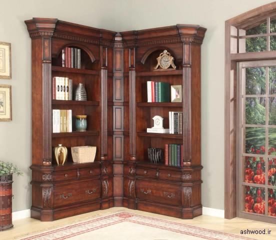 کتابخانه چوبی قفسه گوشه ( بوفه ویترین چوب )