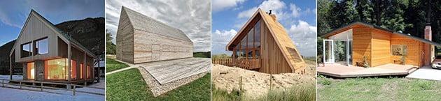 کلبه های کوچک چوبی با سقف شیروانی