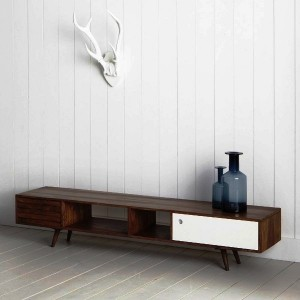 میز tv , دکوراسیون اتاق پذیرایی ، میز تلویزیون ظریف چوبی