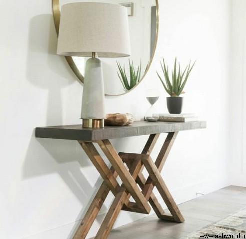 ایده میز کنسول چوبی معاصر مدل های بوفه ویترین تمام چوب و MDF