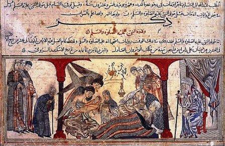 یک نقاشی که تولد محمد را ترسیم کردهاست.