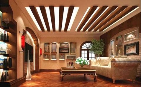 نمونه دیگر از به کار بردن سقف چوبی و استفاده از نورپردازی مناسب و ماهرانه در دکوراسیون