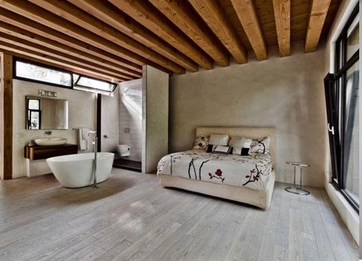 دکوراسیون داخلی با سقف چوبی و استفاده از تیرهای چوبی