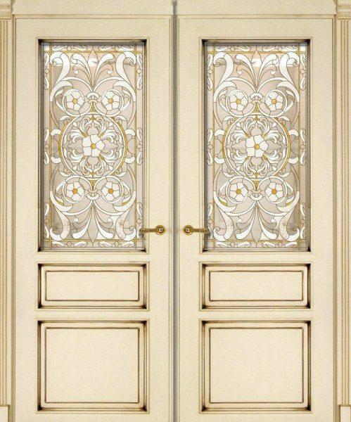 درب چوبی ورودی ساختمان رنگ سفید استخونی