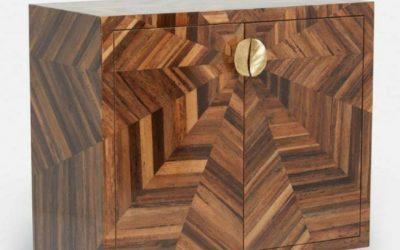 میز کنسول چوبی معرق کاری شده از چوب و روکش چوب طبیعی