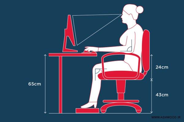 ابعاد استاندارد میز تحریر , اندازه استاندارد ارتفاع میز تحریر و صندلی نوشتن و میز کامپیوتر