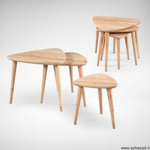 میز جلو مبلی و ست سه تایی عسلی , قیمت مدل میز عسلی , میز چوبی ظریف