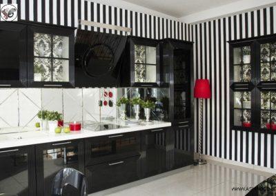 کابینت آشپزخانه رنگ پوششی مشکی براق پولیشی