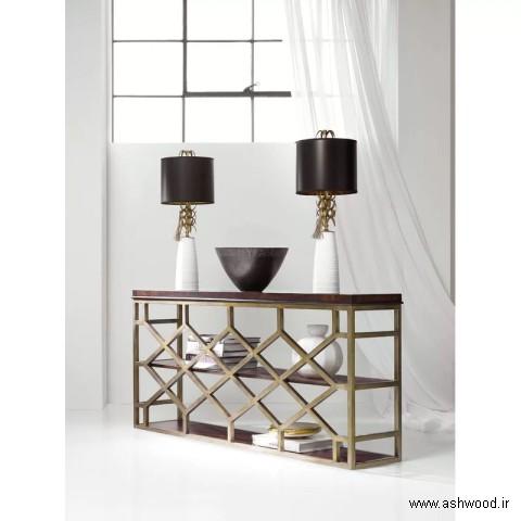 میز کنسول پذیرایی , میز کنسول چوبی سبک مدرن 2019