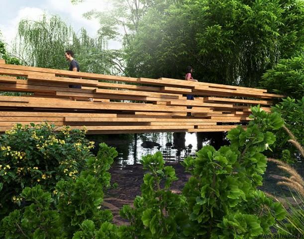 چشم انداز پل چوبی