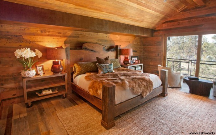قیمت تخت روستیک + عکس از طبیعت روستایی در اتاق خواب