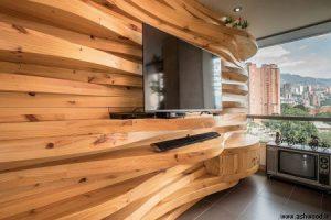 دیوار چوبی تلویزیون , دیوارکوب چوب تزئینی اتاق نشیمن
